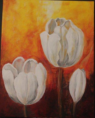 Acrilico su tela tulipani bianchi