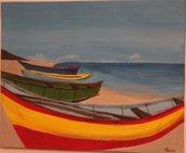 Acrilico su tela barche colorate