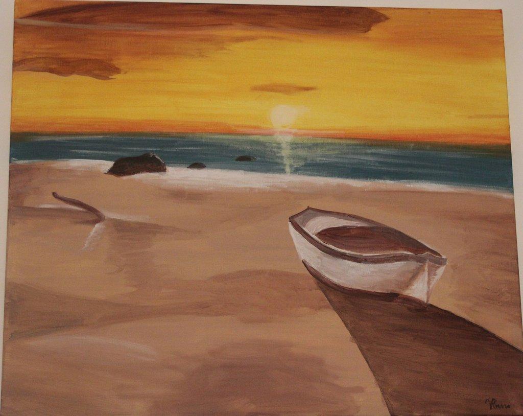 Acrilico su tela barca su spiaggia al tramonto