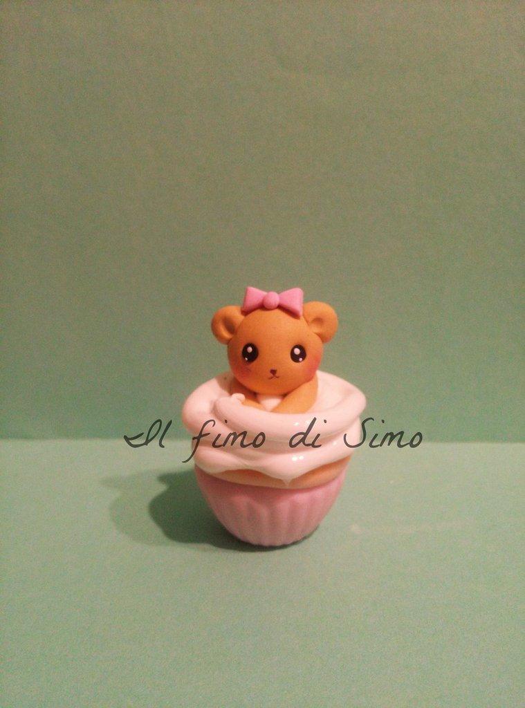 bomboniera nascita battesimo orsetto sul cupcake in pasta polimerica
