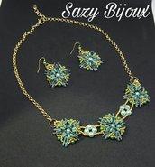 STARLEAVES: Collana e Orecchin in tessitura di perline Verde e Oro