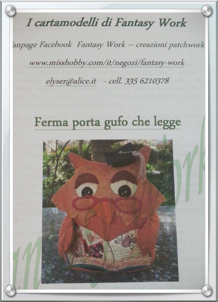 Cartamodello Gufo che legge versione CARTACEA