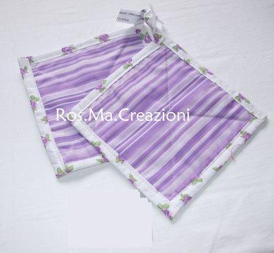 Coppia di presine quadrate in stoffa fatto a mano