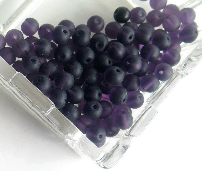 20 Perle di vetro viola opaco 6 mm PRL316