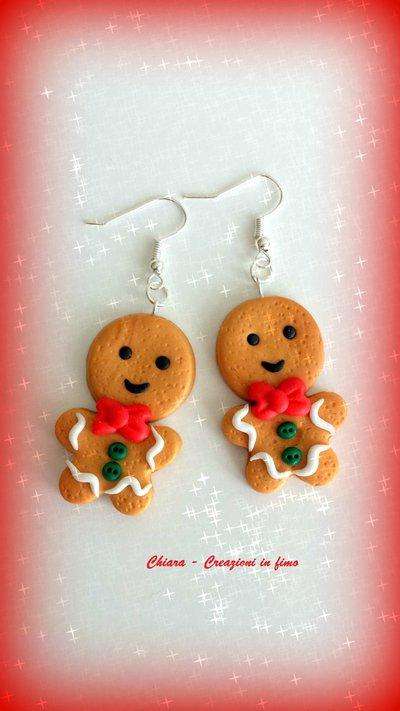 Idea regalo Natale Orecchini in fimo handmade Omini Pandizenzero