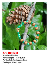 Bracciali Decina con Tau in legno d'ulivo e perlina tipo Madreperla
