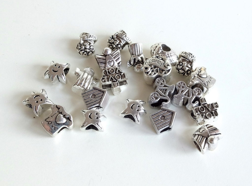 4 Perle a foro largo argento tibetano MIX    PFL211 S