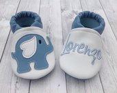 Scarpine ecopelle Elefantino azzurro personalizzate con nome - Bimbo 3/6 mesi