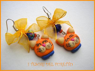 orecchini fimo cernit gatto mici gattini 2 idea regalo natale