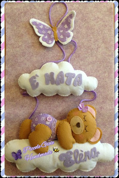 Fiocco nascita orsetta sulle nuvole