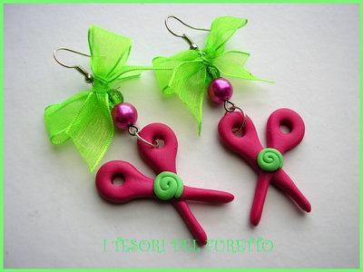orecchini fimo cernit idea regalo natale parrucchiera forbici