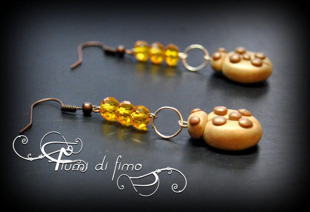 orecchini fimo  orecchini coccinella  orecchini portafortuna  orecchini pendenti  orecchini perline  polymerclay earrings gioielli fimo 