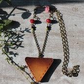 Collana in bronzo anticato e bottone marrone in stile Countrychic