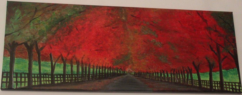Acrilico su tela viale alberato in autunno