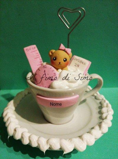 portafoto tazza nascita decorata in pasta polimerica