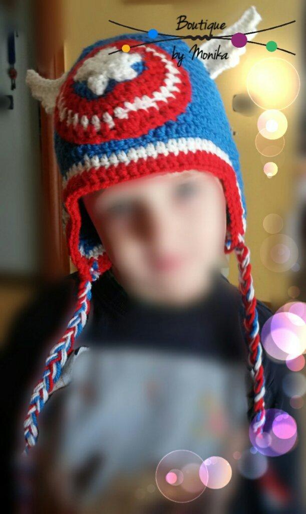 Cappellino Capitan America con paraorecchie