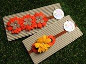 SPEDIZIONE GRATUITA!!! Set due fascie elastiche in feltro colore giallo e arancione by Little Rose Handmade