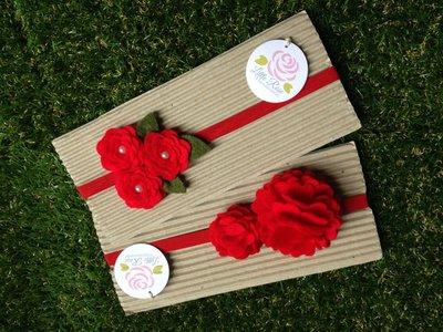 Set 2  Fasce elastiche in tono rosso ideale per le feste di Natale by Little Rose Handmade