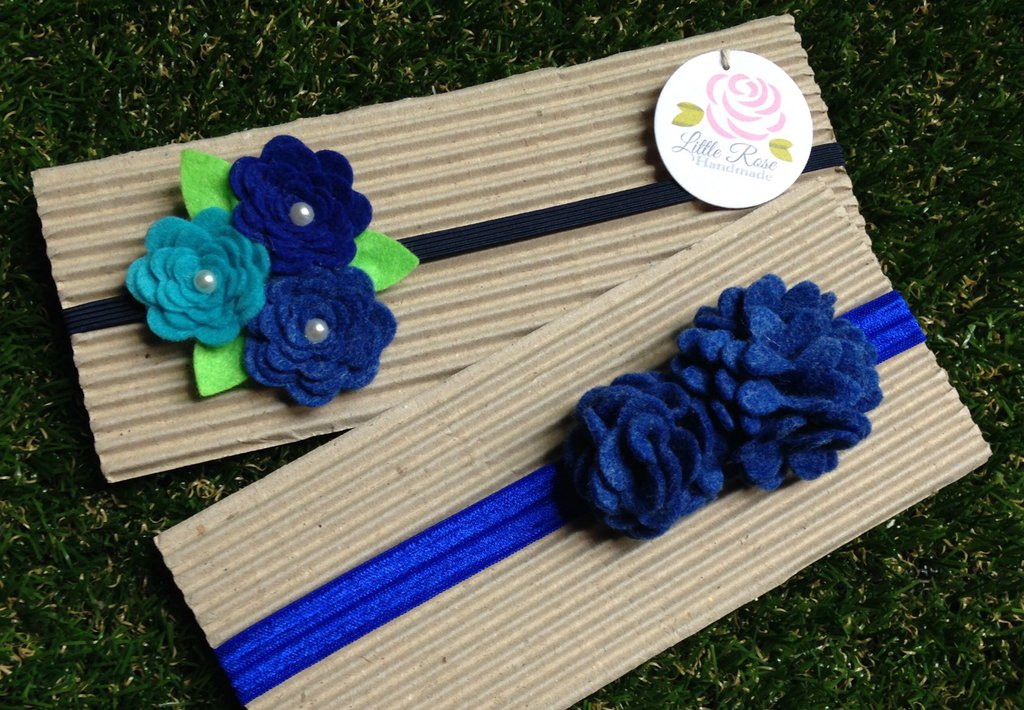 Set 2 Fasce elastiche per capelli in tono Blue by Little Rose Handmade