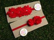 Set 2 Fasce elastiche per capelli in tono rosso ideale per Natale by Little Rose Handmade