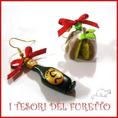 """Orecchini Natale """" Bottiglia e pandoro """" spumante champagne Kawaii miniatura capodanno"""