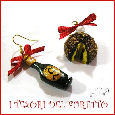 """Orecchini Natale """" Bottiglia e tartufone """" spumante panettone champagne Kawaii miniatura capodanno"""