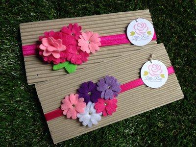 Set di 2 Fasce elastiche per capelli in tono rosa, fucsia, viola e lilla by Little Rose Handmade