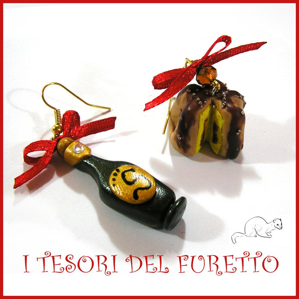 """Orecchini Natale """" Bottiglia e pandoro cioccolato """" spumante champagne Kawaii miniatura capodanno"""