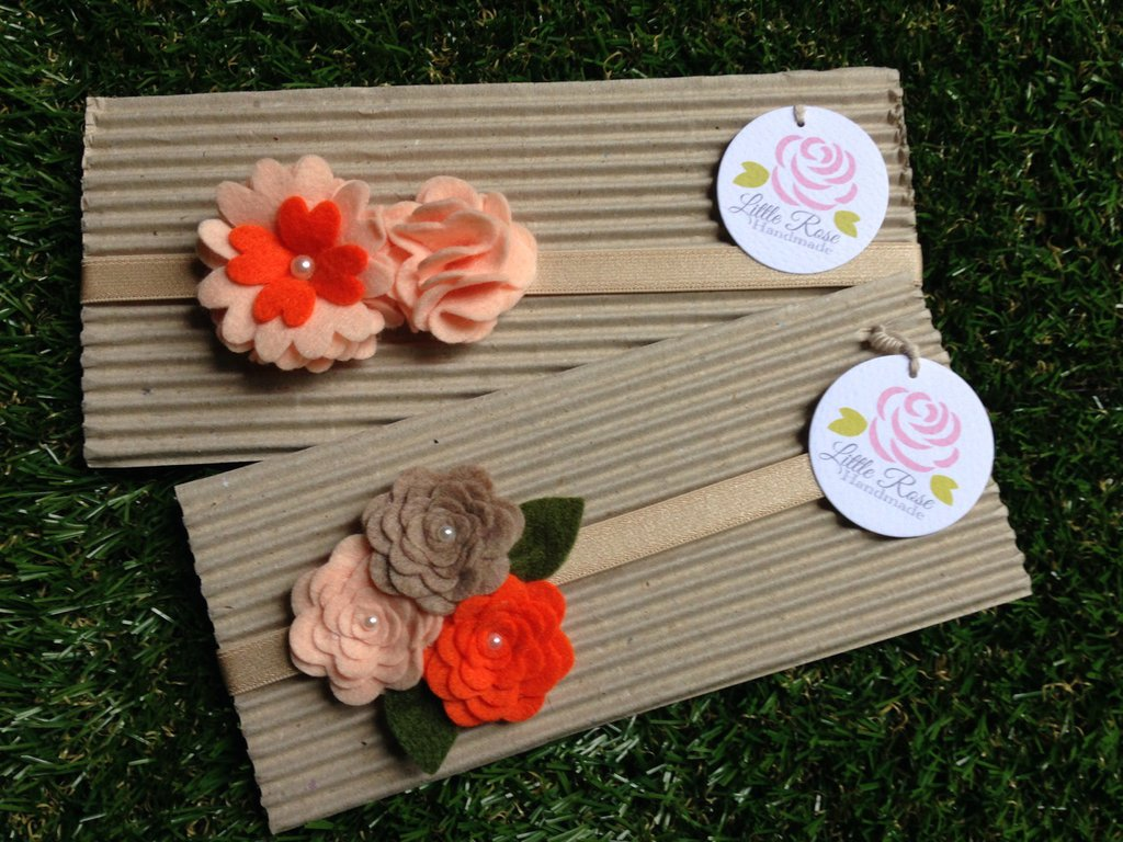 Set 2 Fasce elastiche per capelli in tono salmone, arancione e corda by Little Rose Handmade