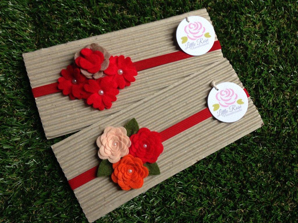 Set di 2 fasce elastiche per capelli in tono rosso ideale per le feste di Natale by Little Rose Handmade
