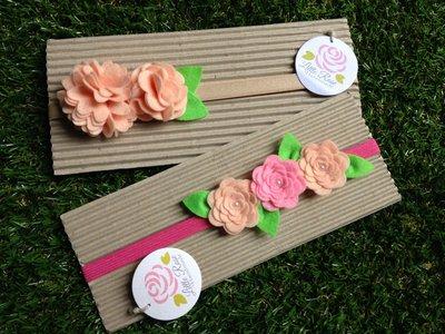Set di 2 Fasce elastiche in tono salmone e rosa by Little Rose Handmade