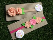 Set di 2 Fasce elastiche in tono salmone e rosa by Little Rose Handmade