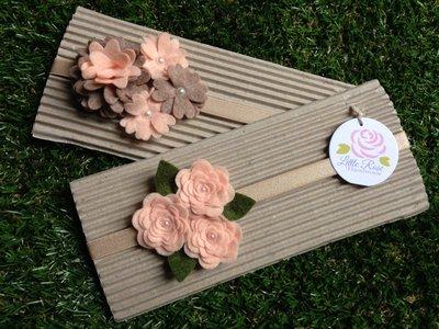 Set di 2 fasce elastiche in tono salmone e corda by Little Rose Handmade