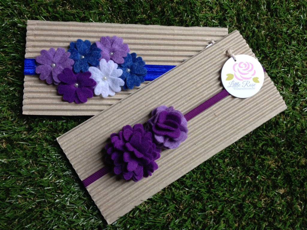 Set di 2 fasce elastiche in tono blue, viola e bianco by Little Rose Handmade