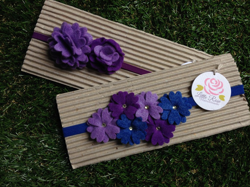 Set di 2 fasce elastiche in tono viola e blue by Little Rose Handmade