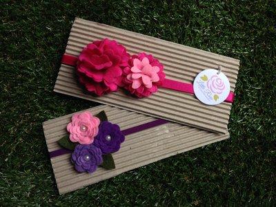 SPEDIZIONE GRATUITA!!! Set 2 fasce elastiche per capelli in tono fucsia, rosa e viola by Little Rose Handmade