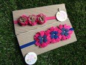 SPEDIZIONE GRATUITA!!! Set 2 fasce elastiche in tono fucsia, blue e corda by Little Rose Handmade
