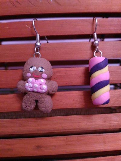 Orecchini in fimo   biscottino e caramella