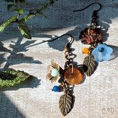 Orecchini pendenti in stile Boho con bottoni vintage