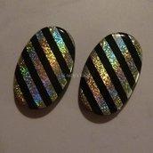 2 Maxi perle righe nero argento multicolor very cool!