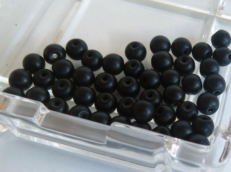 20 Perle di vetro opaco nero 6 mm PRL323