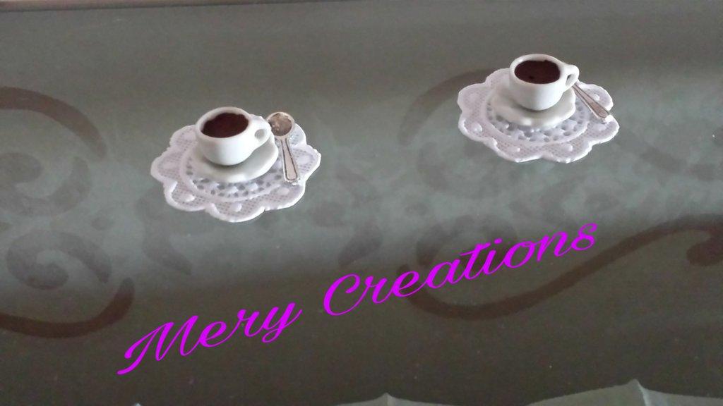 Ciondolo tazzina caffè fimo, base per anelli