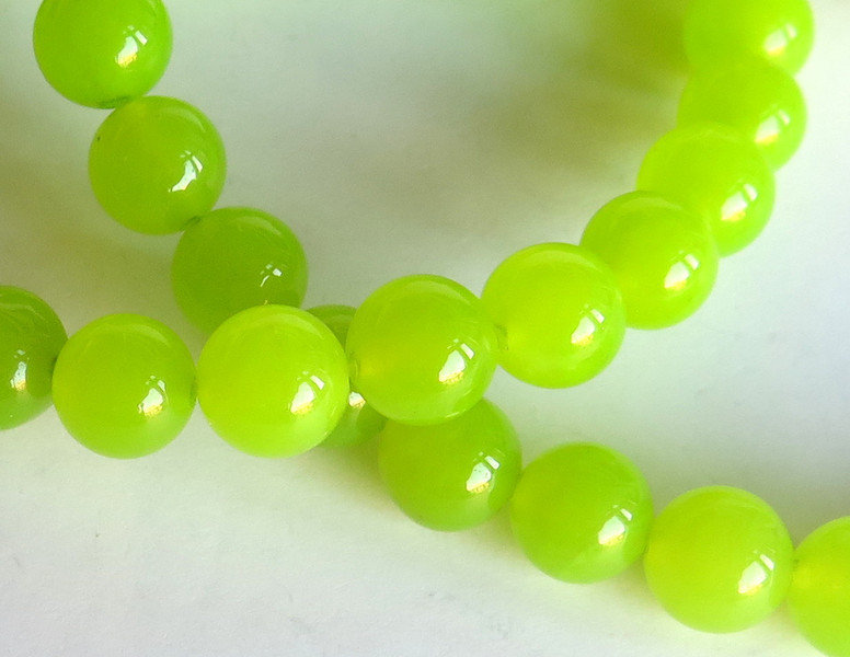 20 Perle di giada colorata 8mm verde PRL329