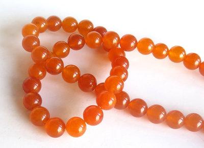 20 Perle di giada colorata 8mm arancione PRL333