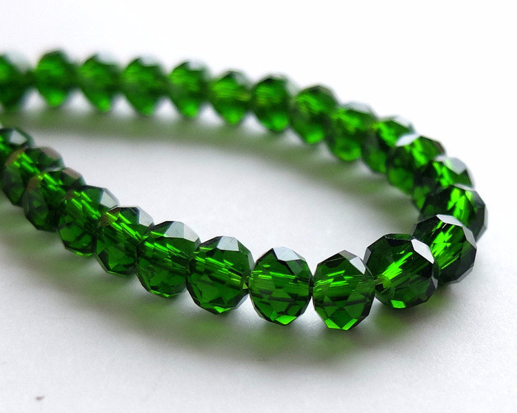 20 Perle Crystal sfaccettate verde scuro  PRL341