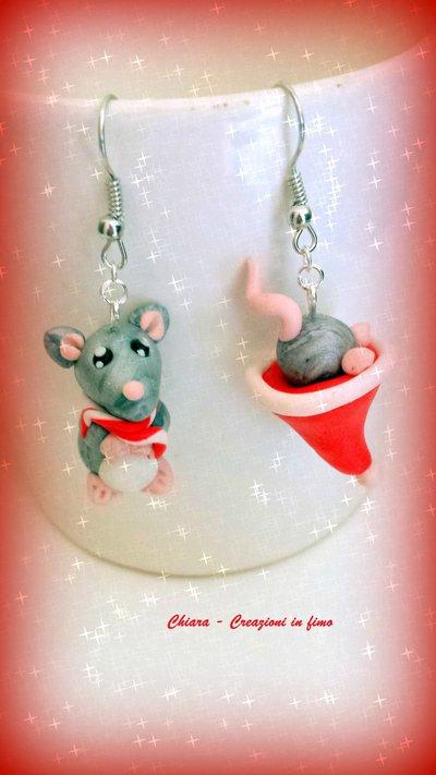 Idea regalo Natale Orecchini in fimo handmade Topolini natalizi