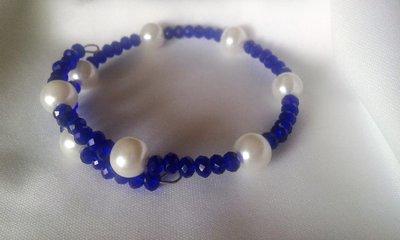 Bracciale filo armonico in acciaio blu e bianco