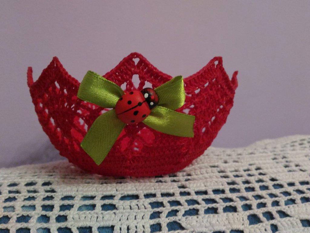 Cestino uncinetto inamidato rosso idea regalo Natale - Feste - Na