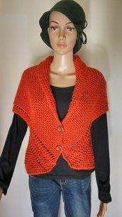 Gilet maglione coprispalle donna in lana fatto a mano