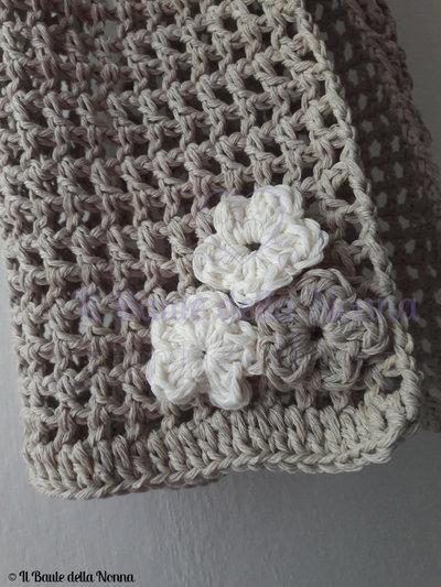Sciarpa Traforata In Caldo Cotone A Uncinetto Filet Art101 Sol